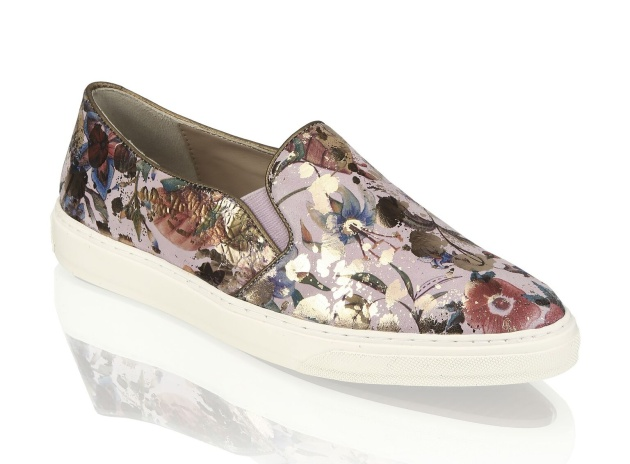 charming slip-ons by Kate Gray with a floral motif; 1599 CZK
